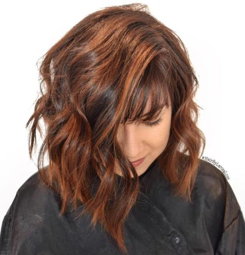 Brown Bob With Caramel Highlights