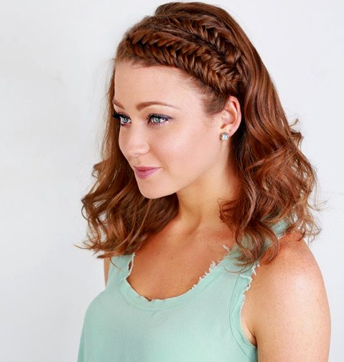 medium wavy hairstyle with double fishtail headband