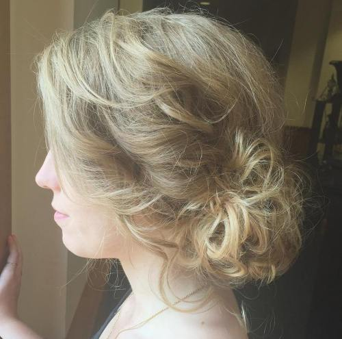 Loose Curly Side Bun Updo