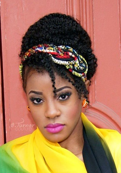 updo for natural hair with a headband