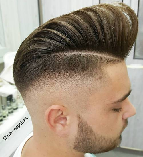 High Shiny Pompadour with Faded Sides