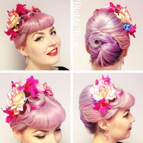 pastel pink updo with bangs