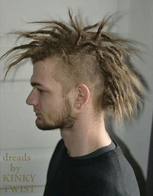 mohawk with long blonde dreadlocks