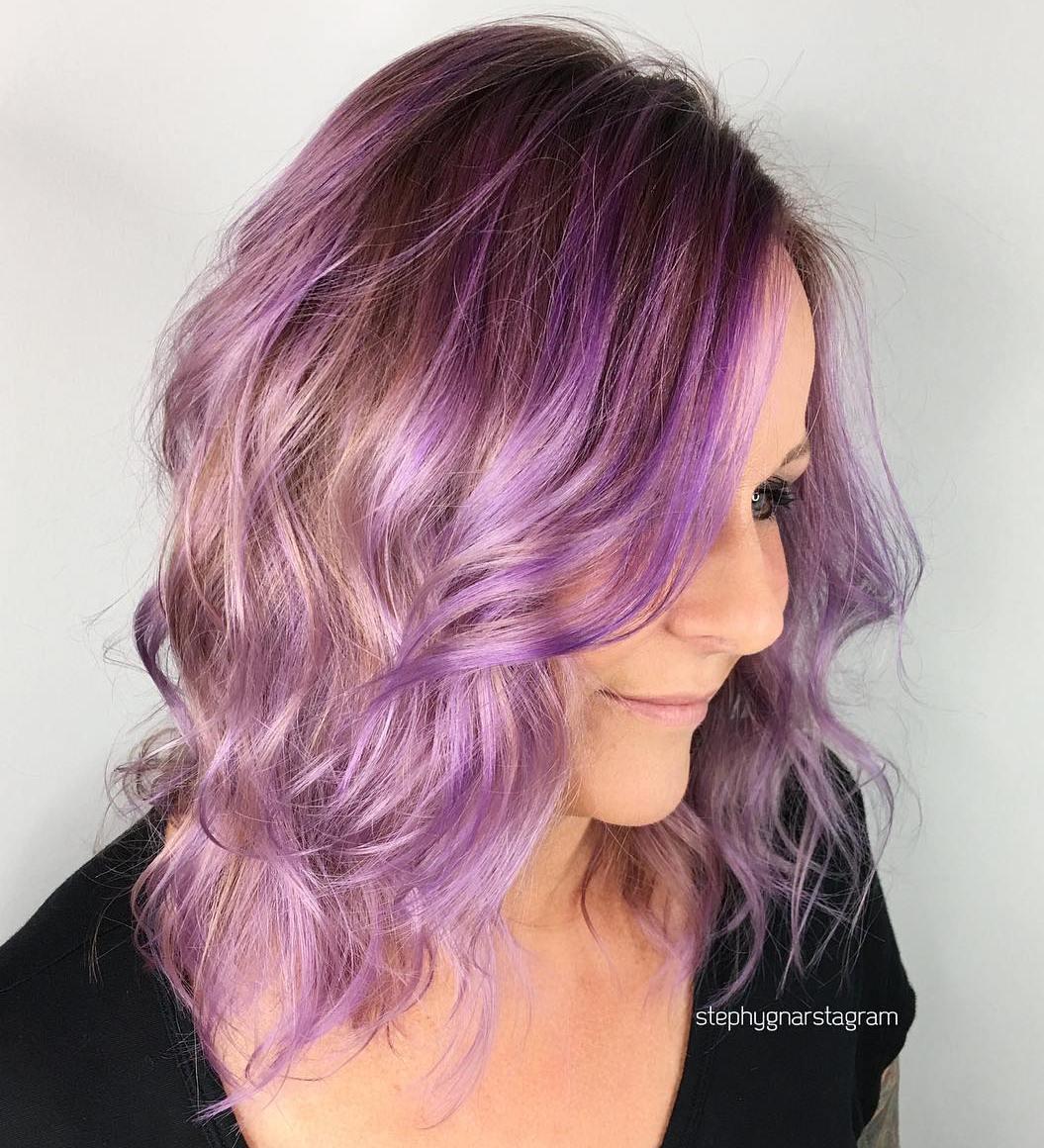 Light Brown And Lavender Balayage Hair
