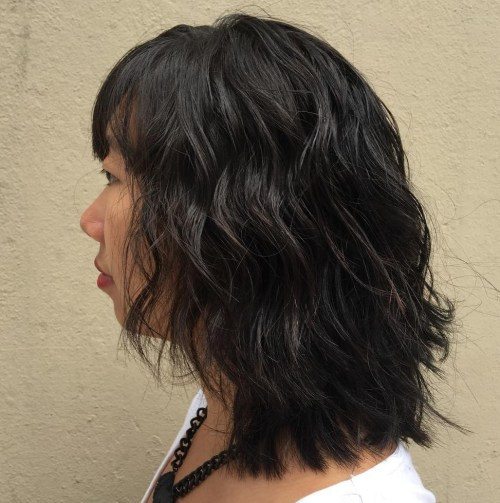 Medium Wavy Perm Hairstyle