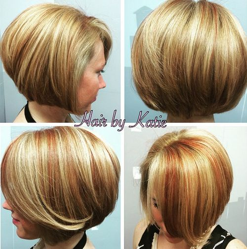 blonde bob with red highlights