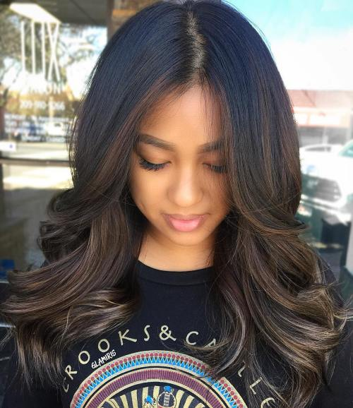 long ash brown hair with darkened roots