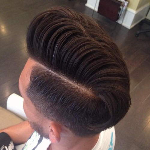 Side Part Pompadour With Undercut