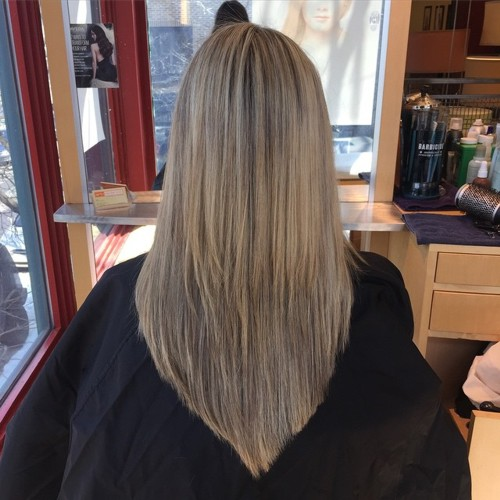 long layered V haircut