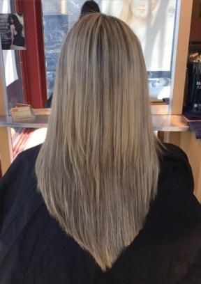 long layered V haircut