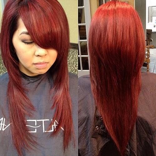 long red V haircut