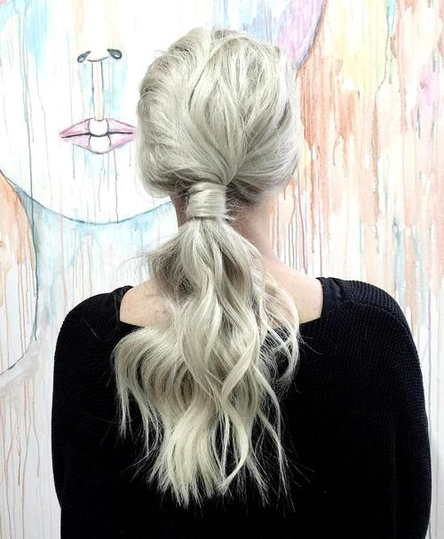 long low blonde tousled ponytail