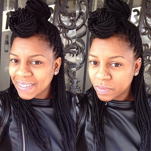two buns half updo for Senegalese twists