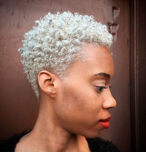cute blonde TWA hairstyle