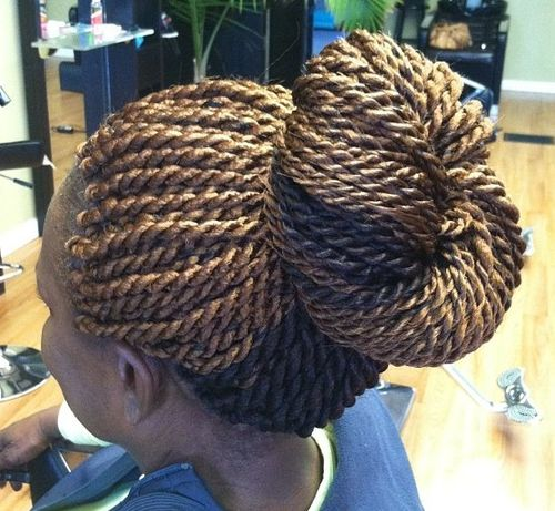 golden blonde and black Senegalese twist bun updo