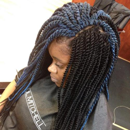 Black Twists With Blue Highlights