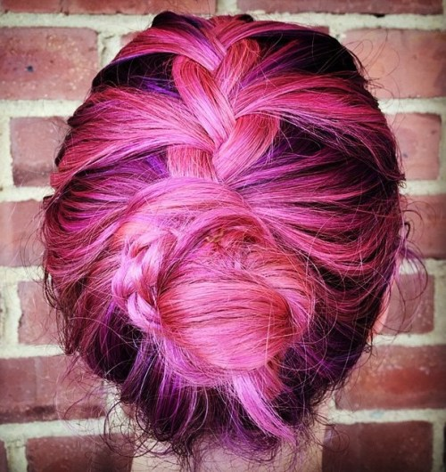 Braided Pink And Purple Updo