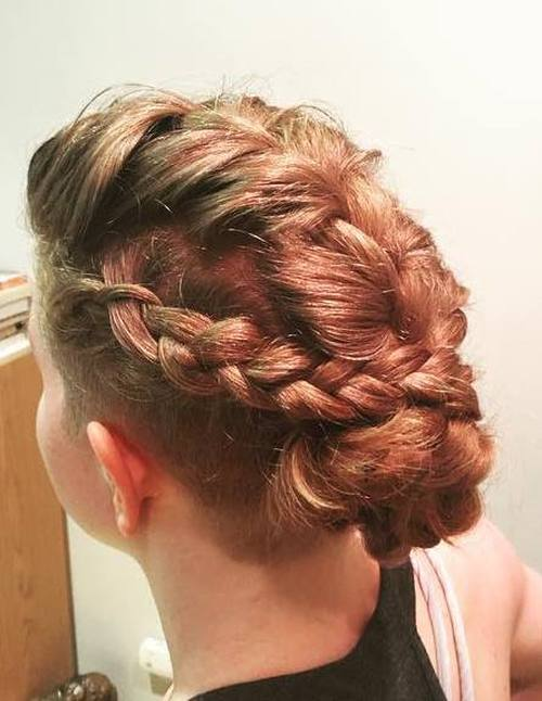 braids into bun undercut hairstyle