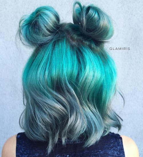 teal hair color and messy buns for short hair