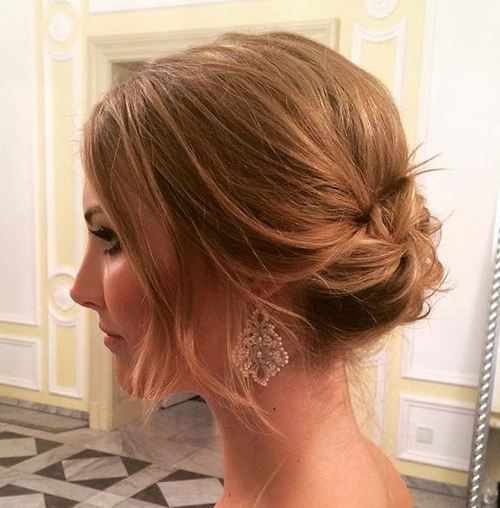 loose low updo for short hair