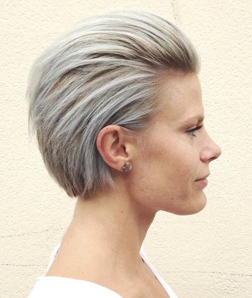 short silver blonde hairstyle