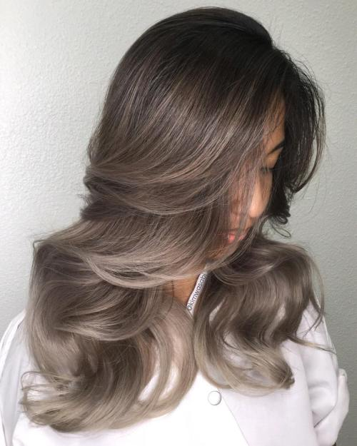 Ash Balayage Brown Hair