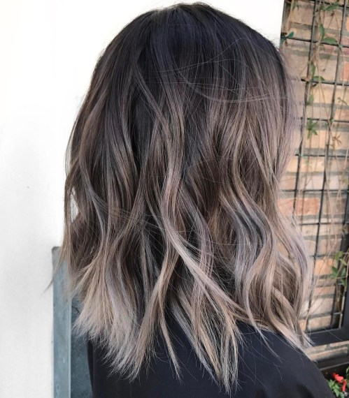 Ash Balayage With Dark Roots