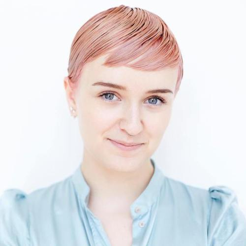 Short Sleek Pastel Pink Hairstyle