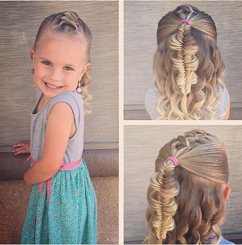 hair style for toddler girl 20 adorable toddler hairstyles 5631 | 10 fishtail and curls half updo for toddlers