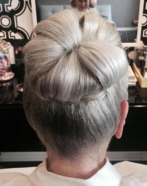 high silver bun for older women