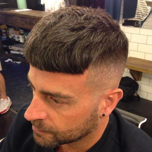 Caesar Haircut with long top and short fade