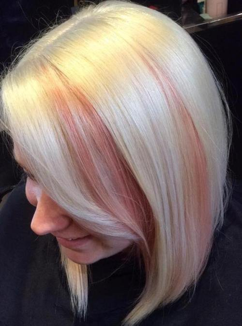 blonde bob with pin peek-a-boo highlights in bangs