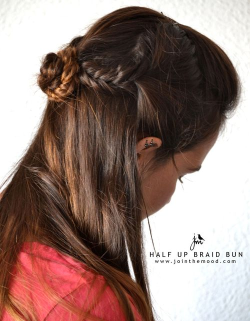 half updo with braided bun