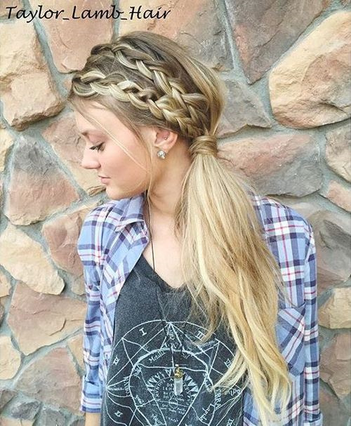long side ponytail with two headband braids