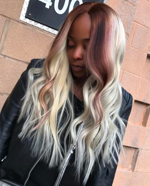 Silver Long Sew In With Brown Balayage