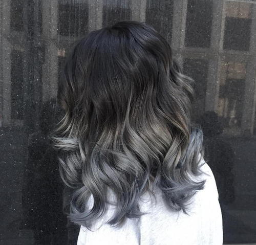 black to gray medium-length ombre hair