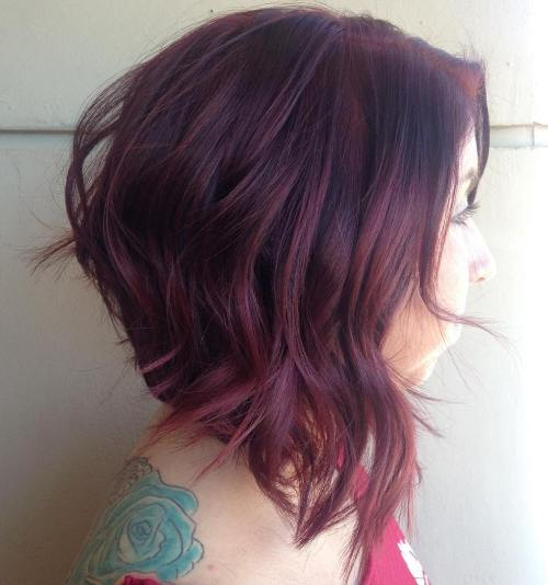 Burgundy Balayage Layered Lob