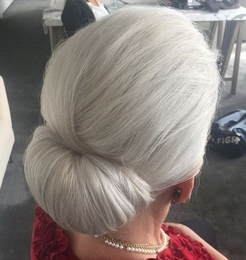 low chignon for silver hair