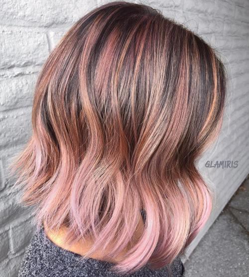 brown and pastel pink lob