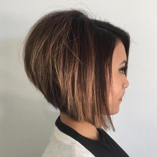 Stacked Bob Hairstyle short stacked bob haircut by debbie at encounters salon haircut short hair Brown Stacked Bob With Caramel Balayage