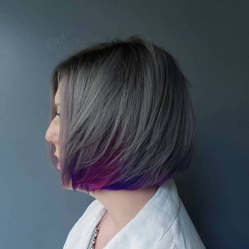 Gray Bob With Purple Peek-A-Boos