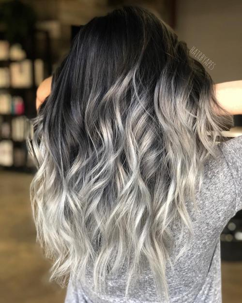 Half Black Half Silver Balayage Long Hair
