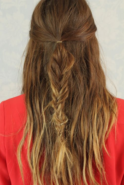 messy fishtail half updo