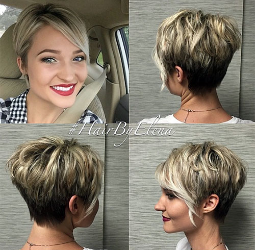 tapered pixie with side bangs and blonde balayage