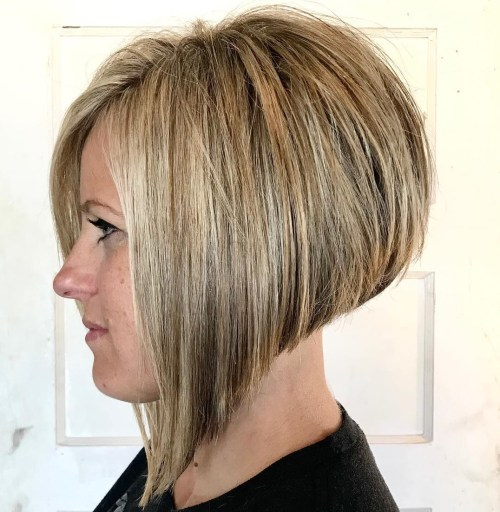 Blonde Steeply Angled Bob