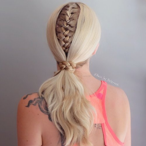 Low Ponytail With A Braid