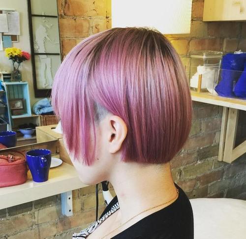 pastel pink short bob