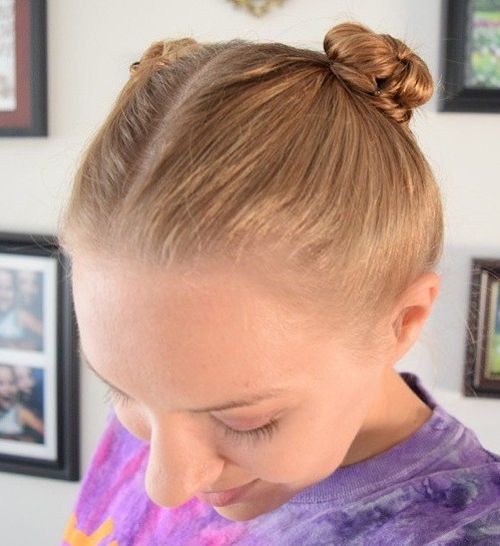 pigtail buns sporty hairstyle