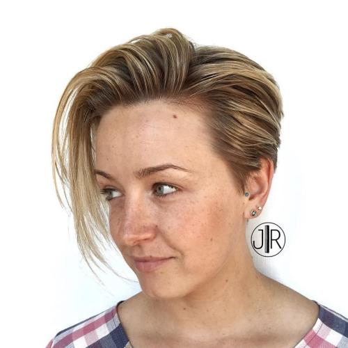 Wet Pixie Hairstyle With Long Bangs