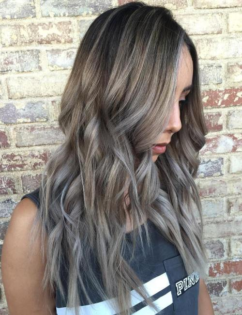 Long Ash Brown Balayage Hair